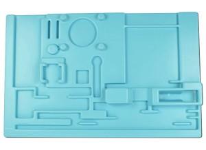 Opbergmal Scheikunde statiefmateriaal, met uitsparingen voor de gebruikte materialen