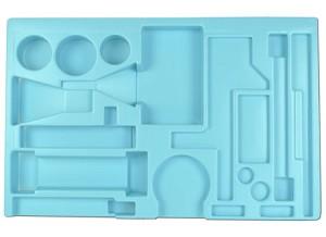 Opbergmal Scheikunde Glaswerk met uitsparingen voor de gebruikte materialen