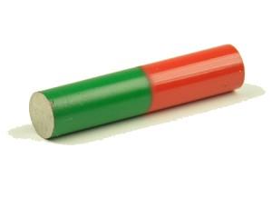 Staafmagneet, AlNiCo, D=10 mm,L=50 mm rood/groen gekleurd