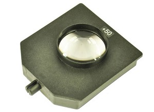 Glazen lens, in houder, f = +50 mm