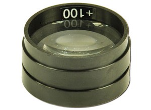 Glazen lens, met plastic rand, f = +100 mm