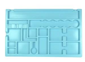 Opbergmal Optica 2 + 3, met uitsparingen voor de gebruikte materialen