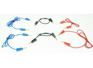 Set van 6 kabels: 1x75cm rd, 1x75cm blw, 1x50cm rd, 1x50cm blw, 2 x 25cm zwart