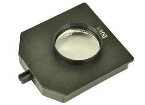 Glazen lens, in houder, f = -100 mm