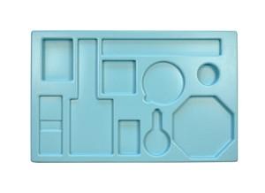Opbergmal Warmte 2, met uitsparingen voor gebruikte materialen