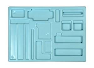 Opbergmal Elektromagnetisme, met uitsparingen voor gebruikte materialen