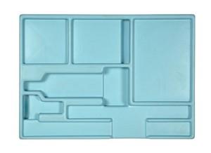 Opbergmal Heet water, met uitsparingen voor gebruikte materialen